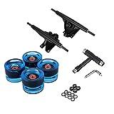 4 Stück Longboard/Skateboard Rollen (Big Wheels) in 70X51mm 80A Inkl. 7In Skateboard Achse Bridge, Kugellager, Metall Spacer Und T-Tool