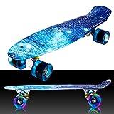 55cm/22 Mini Cruiser Board Retro Skateboard Komplettboard mit LED Leuchtrollen für Jugendliche Kinder und Erwachsene (Farbe 31)