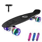 BELEEV Skateboard 22 Zoll Komplette Mini Cruiser Retro Skateboard für Kinder Jugendliche Erwachsene, LED Leuchtrollen mit All-in-One Skate T-Tool für Anfänger(Schwarz)